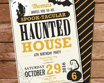 Halloween Haunted House Party Invitation - Haunted House Birthday Party Invitation - Instant Download & Edit at home with Adobe Reader