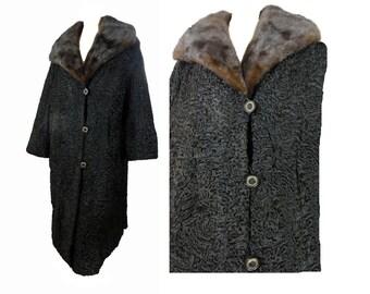XL Fur Coat Vintage 50s Coat Black Persian Lamb Coat Mink Collar