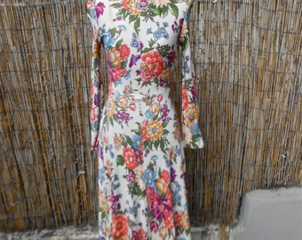 1960s Floral Print George Small NY Dress /// Size Small