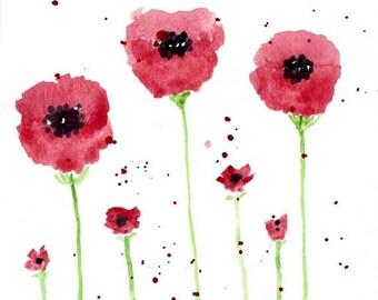 Original Watercolor Artwork - Abstract Red Poppies - Nature Art - Botanical