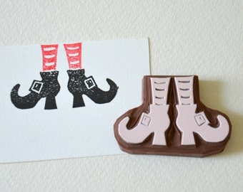 Hand Carved Rubber Stamp / Witch Boots