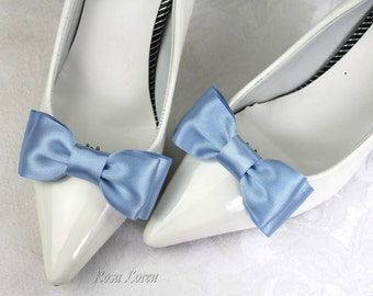 Blue Shoe Bows, Cornflower Blue Bow Shoe Clips, Something Blue Wedding Accessories Shoes Clip, Cornflower Blue Bow Clip Shoes