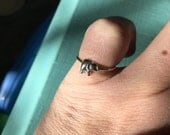 Elephant Ring, Tiny Elephant Sterling Silver Stacker Ring