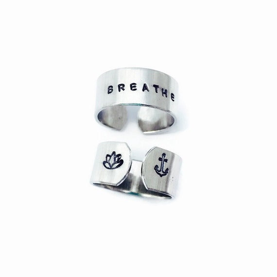 Breathe Ring - Yoga Jewelry - Just Breathe - Hand Stamped Mantra Ring Gift for her Inspirational Jewelry