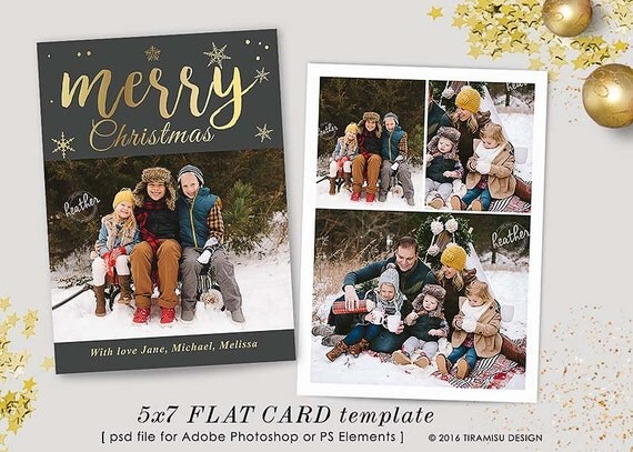 Christmas Card Template , 5x7in Holiday Card Template, Adobe Photoshop ...