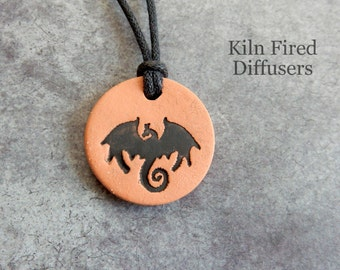 Black Dragon Essential Oil Diffuser Pendant Necklace Small Clay Aromatherapy Jewelry Natural Organic Hypoallergenic Mythology Fantasy