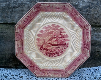 "Red Transferware, RARE, Masons ""American Marine"", Nautical, Octagon 8 Sided 9"" Plate, Patent Ironstone, English Transferware, WallScape"