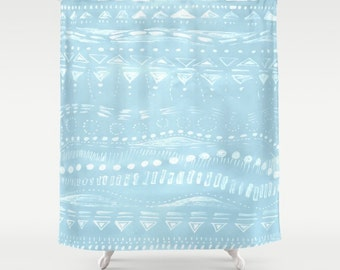 Blue Geometric Shower Curtain Light