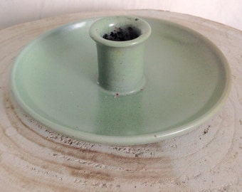 Green ceramic candle holder