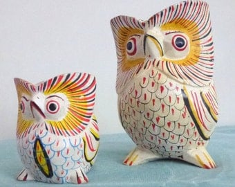 Wood hand painted owls
