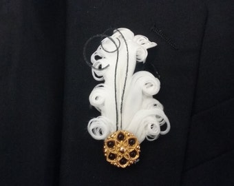 Black and gold boutonniere, feather boutonniere, 1920s boutonniere, Gatsby boutonniere, 1920s corsage and boutonniere, Gatsby corsage