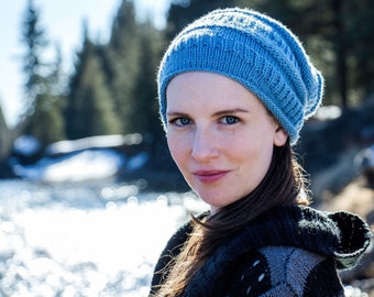 Hand Knit Blue Slouch Hat