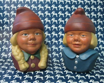 Gerd Sjoqvist, Swedish Boy and Girl Pottery Busts, with Red Caps, Blue Eyes, Blond Hair.