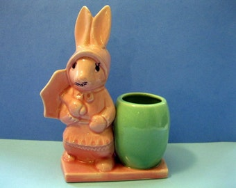 Pink and Green Pottery Bunny Rabbit Vase, Planter, Pencil Holder, Figure with Umbrella, and Bonnet, Made in U.S.A.