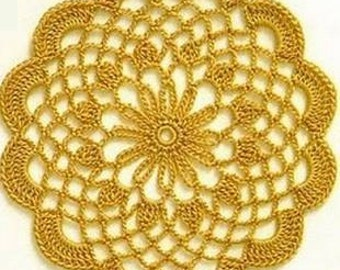 Yellow table doily coaster handmade crochet