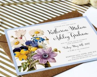 Spring Botanical Wedding Invitation Cards, 5x7 inches, Pastel Floral Wedding