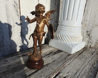 Vintage SIGNED A. Moreau Bronze Cupid Statue Alerte Cherub Angel Florentine French Metal