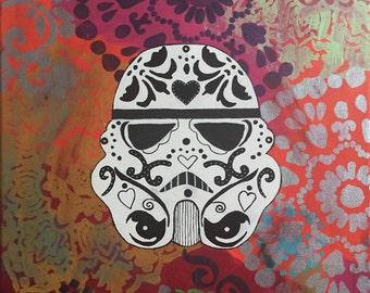 16x20 Storm Trooper sugar skull