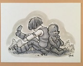 "Original, signed ""Wookiee the Chew"" drawing - ""Co-Pilots"" by James Hance"