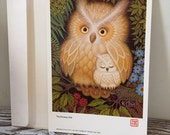 Vintage K Chin Lithograph Print,  The Drowsy Owl 1979