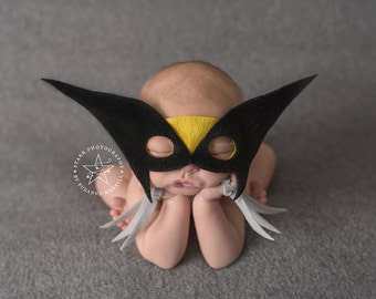 Wolverine Newborn Superhero Photography Prop, Mask and Claws ONLY, Halloween Costume for Baby Boy, Superhero for Boy, Handmade Superhero