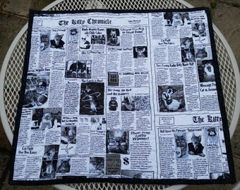 Cat Newspaper print Pet Quilt - Handmade