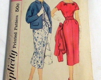 SALE 1950s Wiggle Dress and Kimono Sleeve Jacket sewing pattern Rockabilly Mad Men Slenderette Simplicity 2387 Size 14.5 Bust 35""
