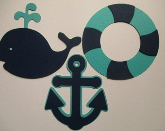 6 Nautical (3 size options) Theme Decorations, Diecut Cutouts, for Diaper Cake, Centerpiece, Birthday Party, Baby Shower, Aqua and Navy Blue