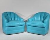 Mid Century Pair Swivel Lounge Chairs