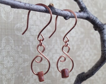 Copper Earrings - Copper Wire Earrings with Goldstone beads