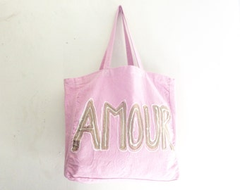 READY to SHIP Amour Love Pink and Gold Large Shoulder Icing TOTE Shopper Cotton French Summer Unisex Handheld Bag / Eve Damon