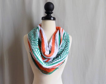 Overstock Sale Green Orange Mexican Blanket Small Cowl Scarf- Cute Bold Hipster Blanket Scarves- Orage and Green Accessories-Cowl Style-Free