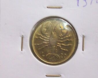 Vintage Italy Republic of San Marino 20 lire  1974 coin.Scorpio. Castles, Coat of Arms. art. 1262. diam.: mm.21. antique coin.43th Birthday