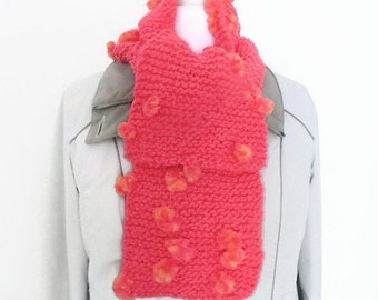 Pink girls scarf, fancy scarf, hand knit scarf, muffler scarf, pink handmade scarf, garter stitch scarf, knitting gifts, childrens scarf