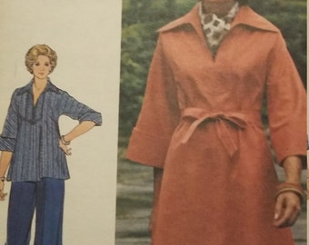 UNCUT and FF Pattern Pieces Vintage Butterick 4010 Sewing Pattern Size 18 Dress, Tunic and Pants