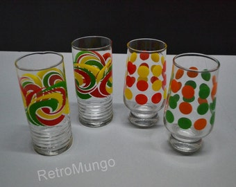 4 retro seventies drinking / soda  glasses