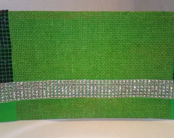 """Large party evening bridal clutch in Green, """"Prosperity"""""""