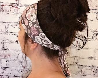 Tie-Back Headband - Sugar Skulls - Brown - Boho Headband - Yoga Headband - Eco Friendly