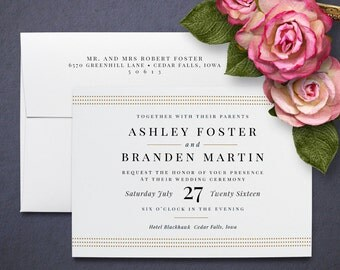Gold Dots Wedding Invitations, Affordable Wedding Invitations, Luxe 100% Cotton paper