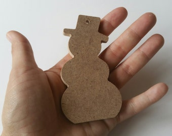 MDF Christmas shapes - Snowman, blank ready to decorate Christmas tree decorations, craft supplies, kids crafts