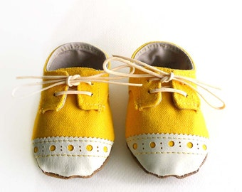 Baby Boy or Girl Shoes Yellow Canvas with Brogued Leather Soft Sole Shoes Oxford Wingtips Wing tips