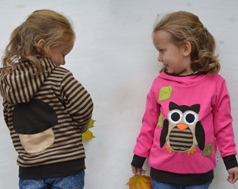 Kids fall owl hoodie,autumn leaves and owl sweater,baby owl clothes,girl fall outfit,toddler girl gift-reversible,bright pink/brown stripes