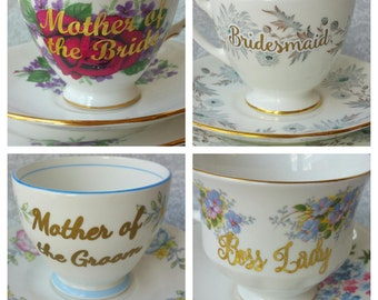 Add a customization/personalization to any teacup Custom Teacup/ Vinyl Design/Decal Only