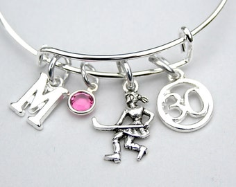 Field Hockey Bangle, Field Hockey Charm Bracelet, Personalized Initial, Monogram, Choose Jersey Number, Gift For Her, Team Gift