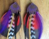Purple Lotus Lasercut Wooden Feather Earrings OOAK