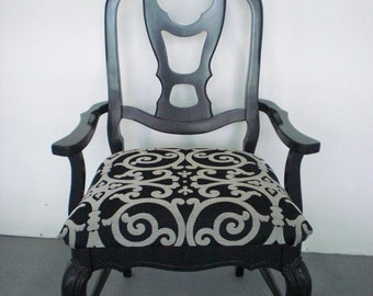 Black and silver upholstered accent chair