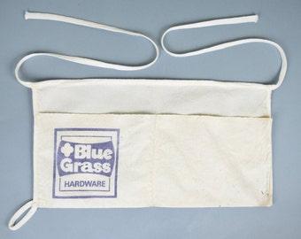Vintage Hardware Store Canvas Apron / Canvas Half Apron / Carpenter's Apron  / Blue Grass Hardware Apron