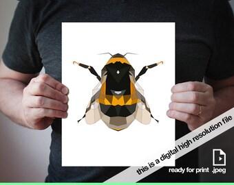 Printable bee, Bumble bee, Bee art, Geometric bee, Printable geometric, Printable art, Art print, Geometric art, Black and yellow, Minimal