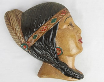 Vintage 1940s Chalkware Indian Maid Wall Decor Face, One or Pair