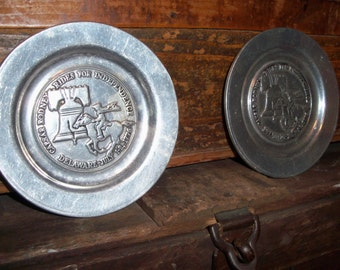 Vintage Pair of Pewter Wilton Columbia Caesar Rodney Rides For Independence Delaware Plates Saucers